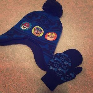 EUC Toddler Paw Patrol Hat & Mittens